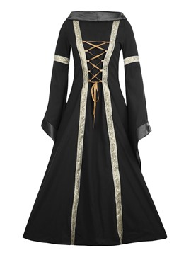 Ericdress Hooded Patchwork Lace-Up Flare Sleeves Expansion Maxi Dress