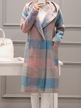 Ericdress Hidden Button Mid-Length Plaid Coat