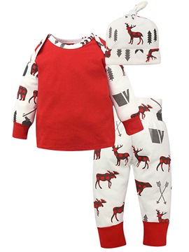 Ericdress Deer Print Color Block Cotton Boys & Girls 3-Pcs Outfits
