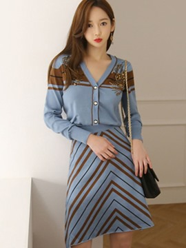 Ericdress Single-Breasted Beading Sweater and A-Line Stripe Skirt Women's Knit Suit