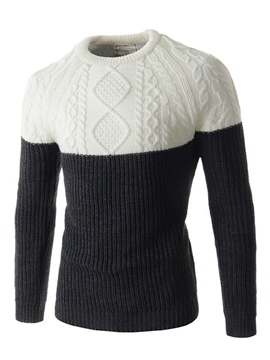 Ericdress Patchwork Round Neck Slim Men's Pullover Sweater