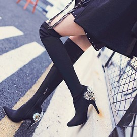 Ericdress Rhinestone Pointed Toe Stiletto Heel Thigh High Boots