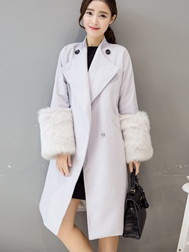 Ericdress Loose Feather Hidden Button Coat