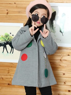 Ericdress Polka Dots Turn-Down Collar Hemline Girl's Trench Coat