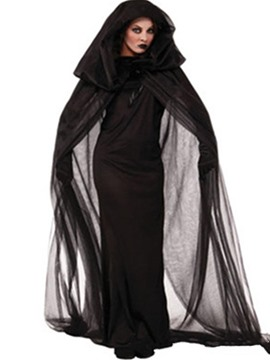 Ericdress Plain Witch Cosplay Halloween Costume Party Mesh Cape Maxi Dress