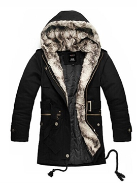 Ericdress Plain Flocking Hooded Thicken Vogue Slim Men's Winter Coat