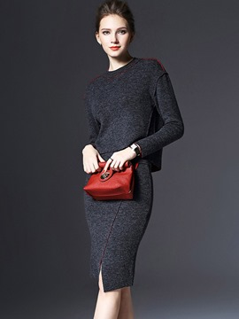 Ericdress Knee-Length Bodycon Skirt and Plain Zipper Sweater Women's Skirt Suit