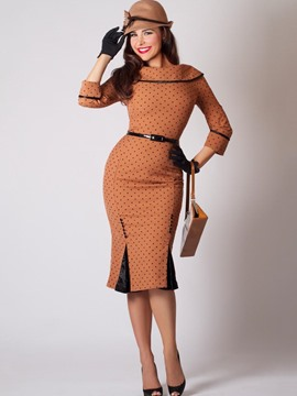 Ericdress Backless Patchwork Polka Dots Bodycon Dress