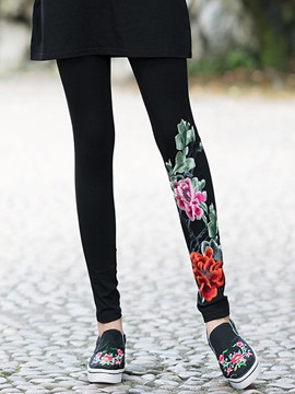 Ericdress Floral Embroidery Slim Women's Leggings
