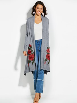 Ericdress Floral Embroideried Cardigan Wrapped Knitwear