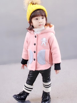 Ericdress Color Block Hooded Single-Breasted Girl's Overcoat