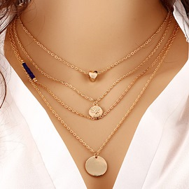 Ericdress All Match Multilayer Heart&Coin Pendant Women's Necklace