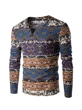 Ericdress Ethnic Style Print V-Neck Vogue Slim Men's T-Shirt