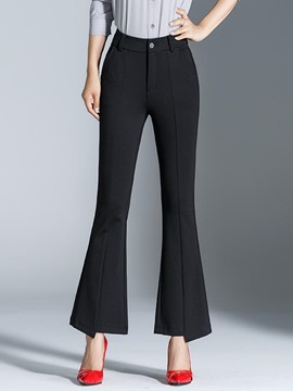 Ericdress Mid-Waist Ankle Length Bell Bottom Women's Dress Pants