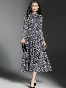 Ericdress Floral Print Long Sleeves Expansion Lace Maxi Dress