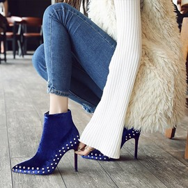 Ericdress Chic Rivet Plain Pointed Toe Stiletto Heel Boots