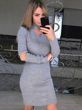 Ericdress Long Sleeve Hollow Plain Bodycon Dress