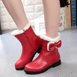 Ericdress Plain Round Toe Ankle Boots with Bowknot