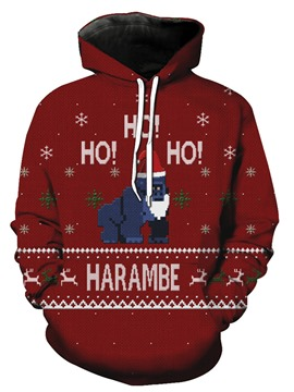 Ericdress Christmas Style Hooded Pullover Unique Men's Hoodie