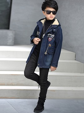 Ericdress Hooded Zipper Mid-Length Boy's Denim Woolen Jacket