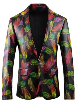 Ericdress Color Block PU Notched Lapel Unique Slim Men's Blazer