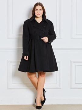 Ericdress Lapel Double-Breasted Plain Coat