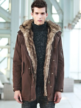Ericdress Detachable Faux Fur Plain Zip Slim Men's Winter Coat