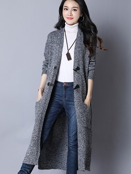 Ericdress Loose Plain Long Cardigan Knitwear