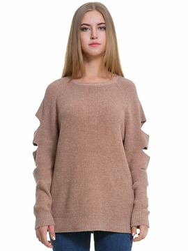 Ericdress Plain Hollow Mid-Length Knitwear
