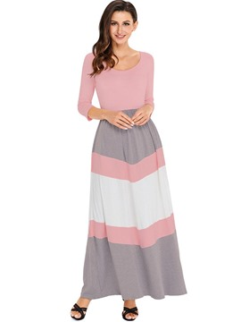 Ericdress Color Block Patchwork Expansion 3/4 Lenth Maxi Dress