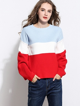 Ericdress Color Block Patchwork Loose Knitwear