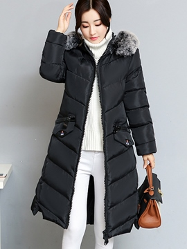 Ericdress Slim Plain Long Fur Hooded Coat
