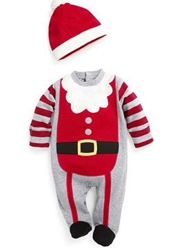 Ericdress Christmas Cartoon Print Stripe Unisex Baby's Bodysuits