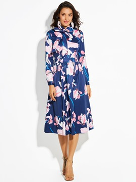 Ericdress Floral Print Bowknot Long Sleeve A Line Dress