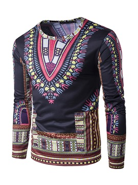 Ericdress Dashiki Ethnic Style African Print Round Neck Slim Men's T-Shirt