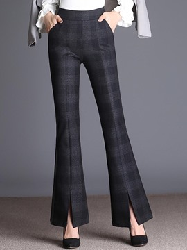 Ericdress Thick Bell Bottom Plaid Slit Women's Elegant Dress Pants