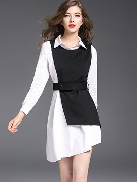 Ericdress Asymmetrical Sleeveless Vest and Mid-Length Dress Women's 2-Piece Set