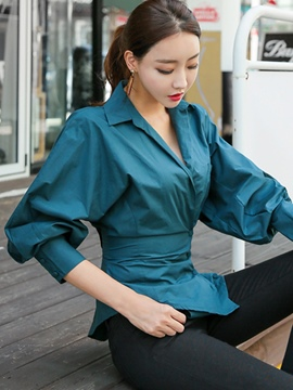 Ericdress Slim Plain Single-Breasted Blouse