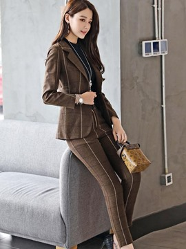 Ericdress Plaid Blazer and Pants Women's Professional Suit