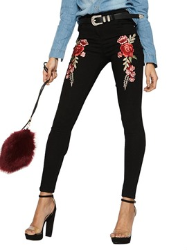 Ericdress Slim Denim High-Waist Floral Embroidery Women's Leggings