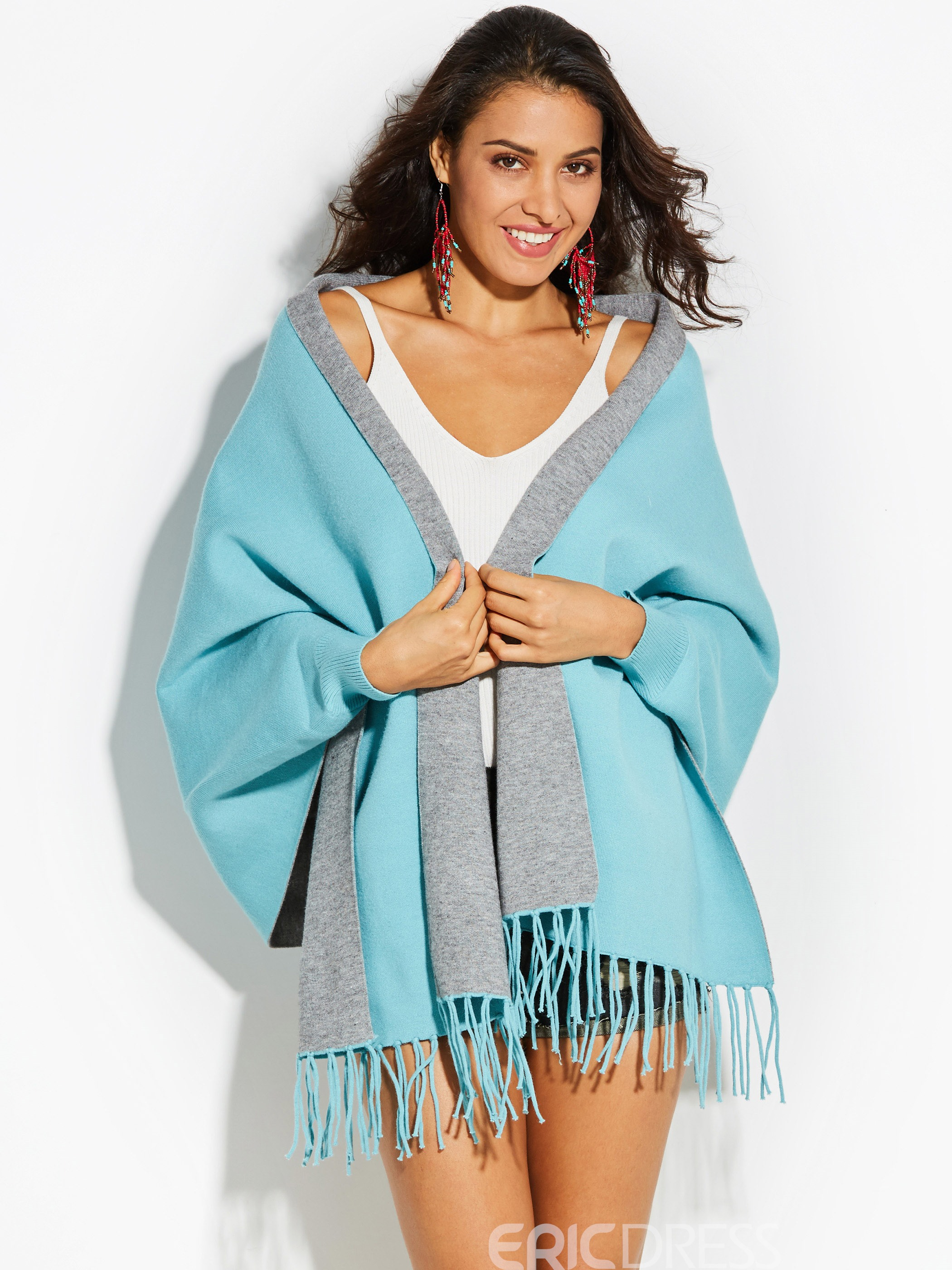 Ericdres Floral Embroideried Plain Wrapped Womens Cape