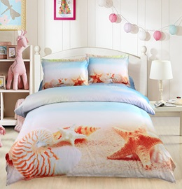 Vivilinen Starfish and Conch on Sand Printed 4-Piece 3D Bedding Sets/Duvet Covers