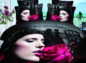 3D Girl and Pink Rose Printed Cotton 4-Piece Bedding Sets/Duvet Covers