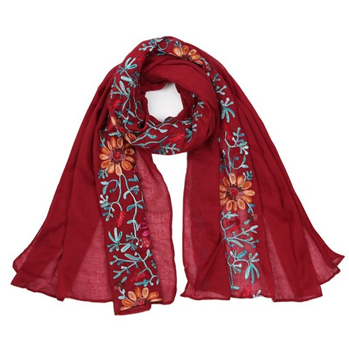 Ericdress National Style Embroidery Cotton Scarf for Travelling