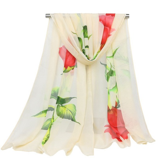 Ericdress Graceful Rose Printed Chiffon Women's Scarf
