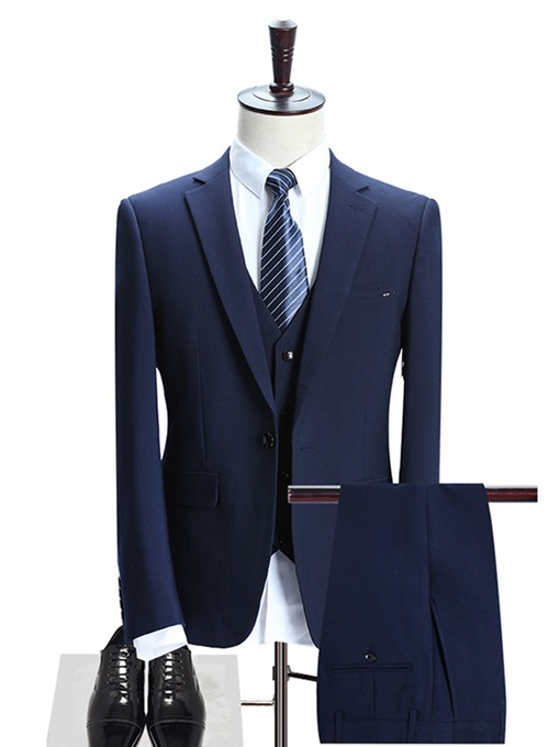 Ericdres Plain Business Three-Piece Men's Suit