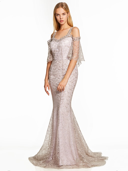 Ericdress Straps Backless Lace Mermaid Evening Dress