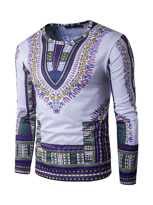 Ericdress African Fashion Dashiki Print Round Neck Mens Straight Shirt