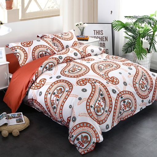 Adorila 60S Brocade Orange Floral Paisley Pattern Exotic Style 4-Piece Cotton Bedding Sets