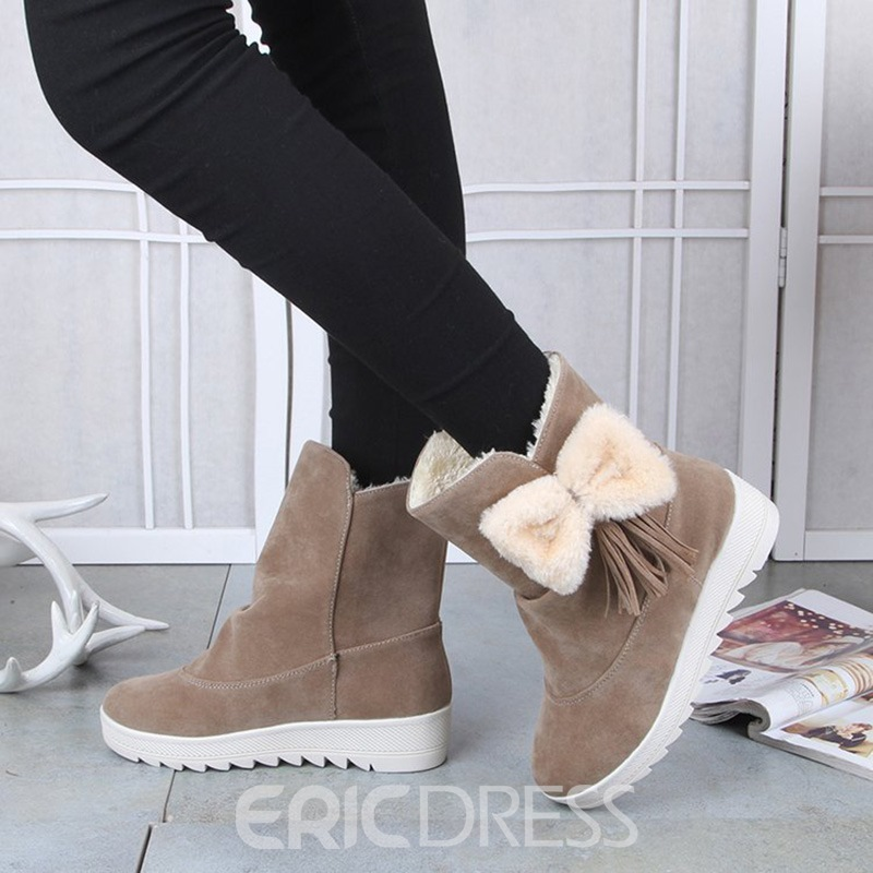 Ericdress Bowknot Decorated Slip-On Womens Snow Boots